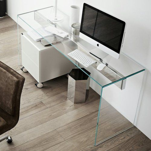 Workplace Glass Table Minimal Mac Transparent Wooden Office