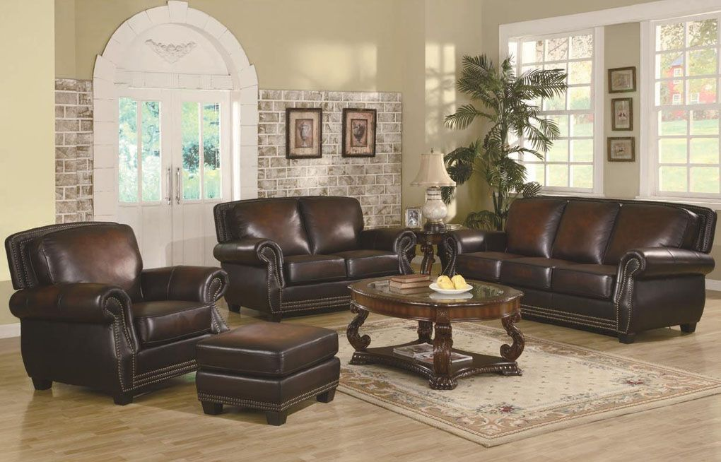 Set Of Leather Sofas Bloom Sofa Sand Trimmed Traditional Rich Brown With Nailhead Trim Sets