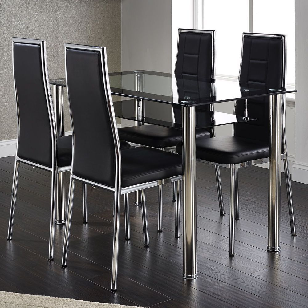 4 Seater Rectangular Dining Set Leather Chairs Black Glass Chrome Leg Furniture Glass Dining Table Set Rectangular Dining Set Contemporary Glass Dining Table