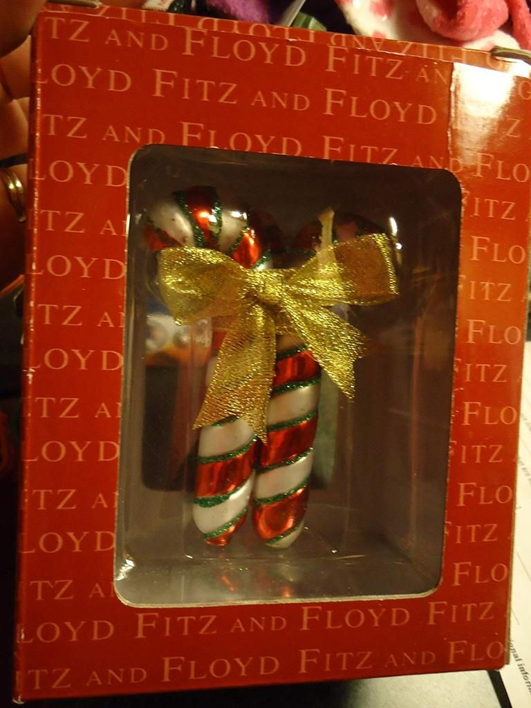 Fitz Floyd Boxed Glass Christmas Ornament Candy Lane Triple Candy Cane Bundle Tied With Gold Rib Glass Christmas Ornaments Christmas Ornaments Gold Ribbons