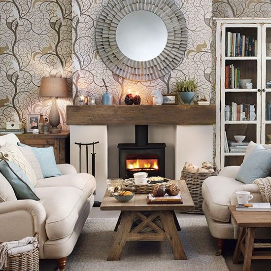 Woodland theme living room | Living room decorating | Ideal Home ...