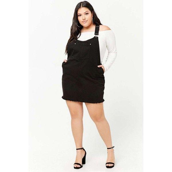 Forever 21 Plus Size Denim Overall Dress Black 16 Via Polyvore