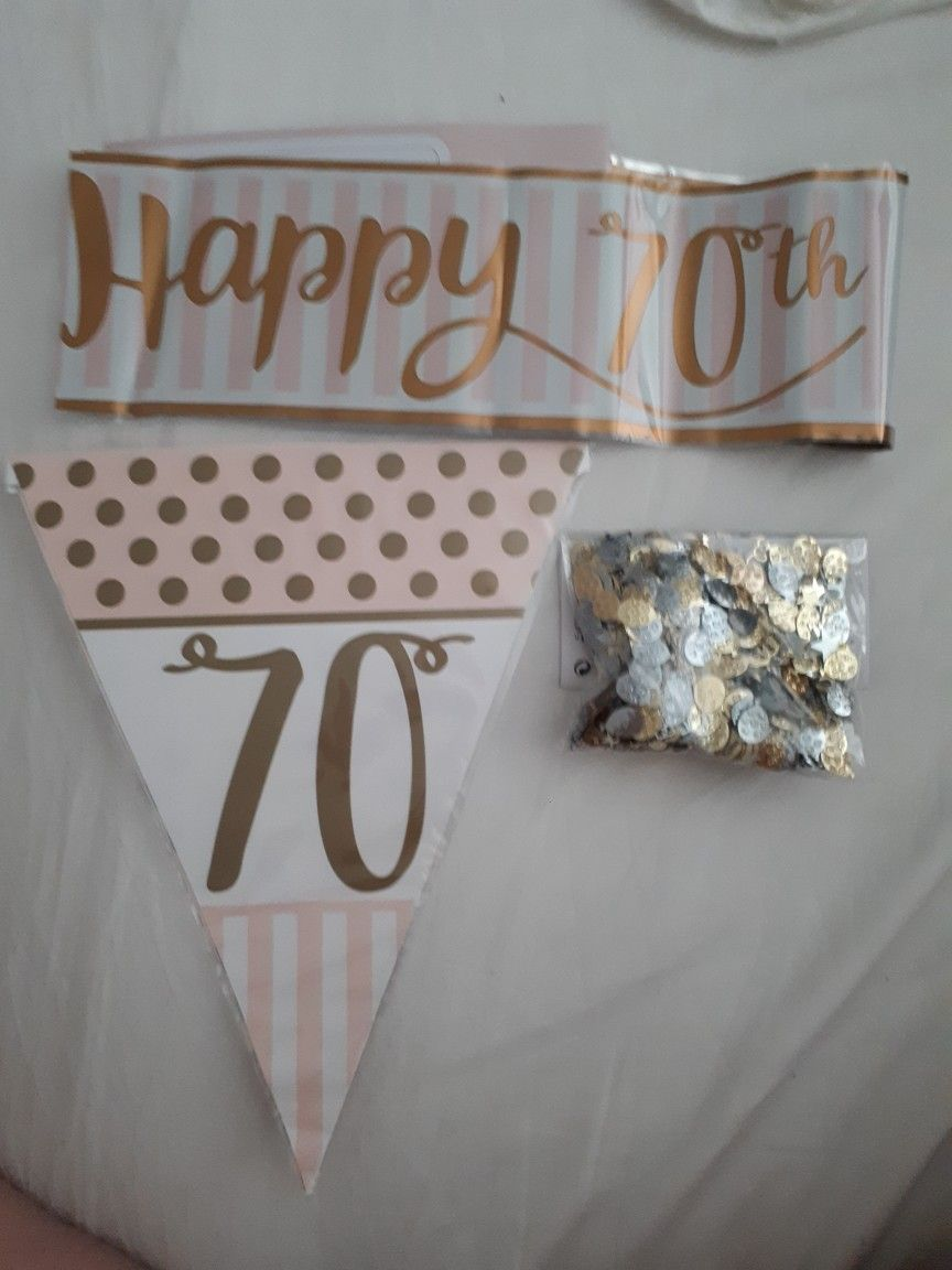 Goldwhite And Pale Pink 70th Birthday Decorations