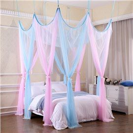 Pink And Blue Princess Style Polyester Eight Corner Bed Canopy