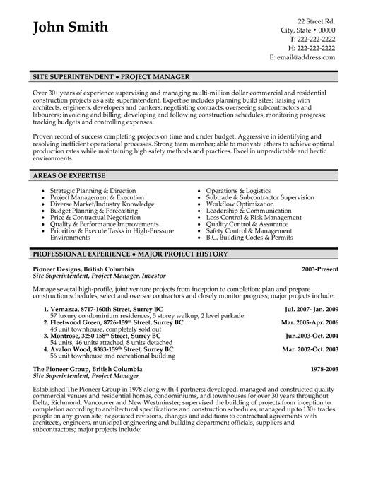 Resume Sample A Resume Template For A Site Superintendentyou Can Download It