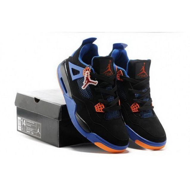 Nike Air Jordan Retro 4 Big Size Mens Shoes Black Blue Orange