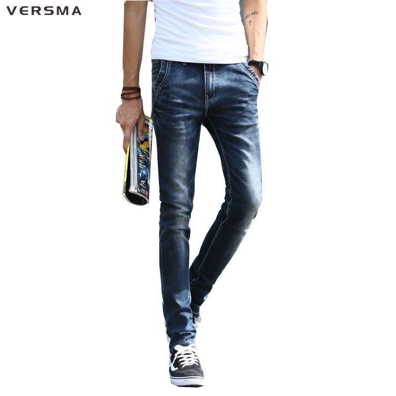 VERSMA Mens Stretch Jeans Exclusive Design Cool Streetwear Denim Designer Jeans Men Straight Mid Waist Men Jeans Vaqueros Hombre #Affiliate