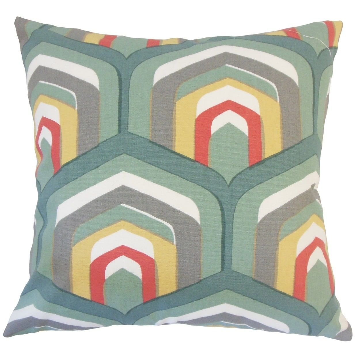 Ulric geometric floor pillow dew green size x cotton