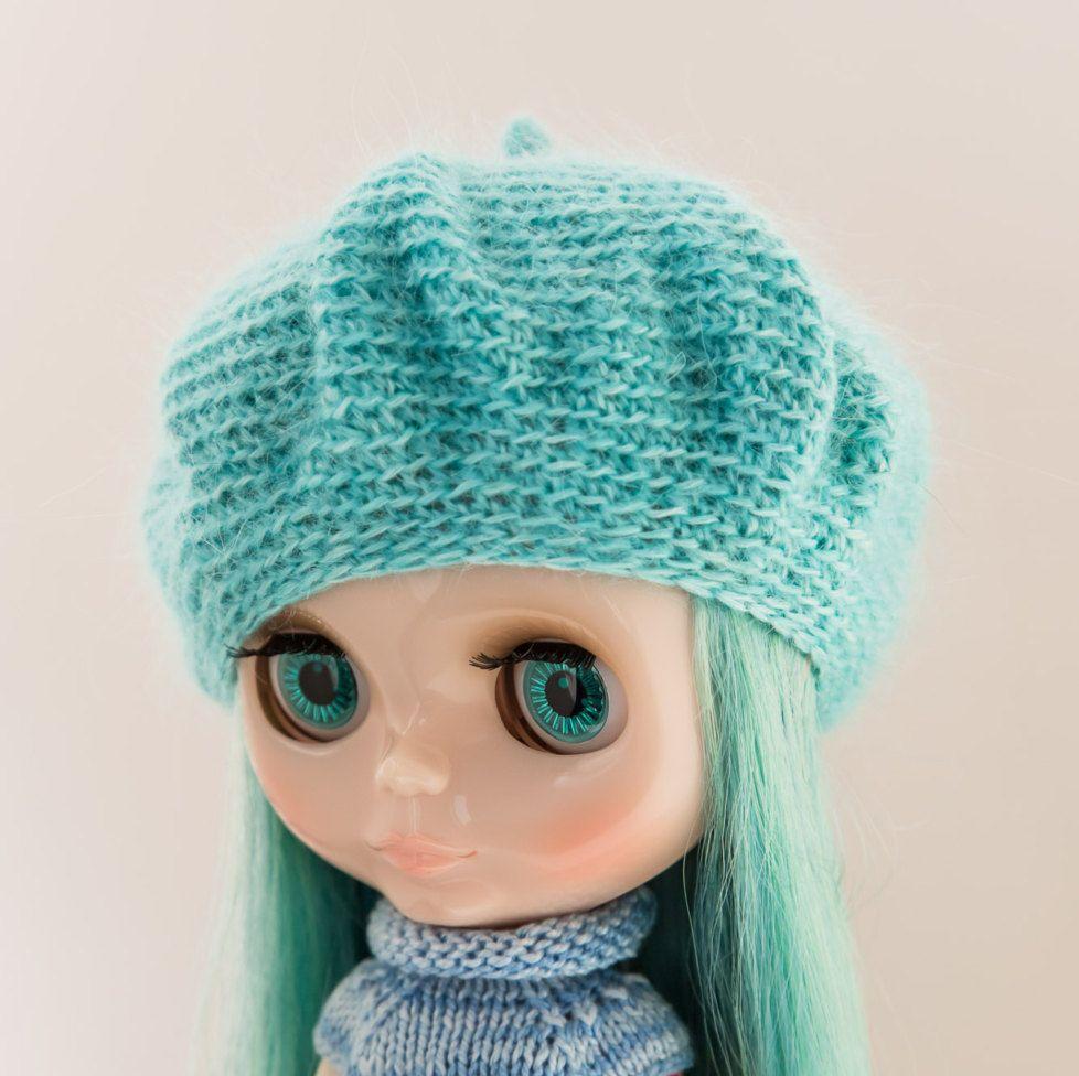 de8037ab35dac Blythe hat mint Beret сrochet mohair mint beret for blythe doll blythe  outfit doll beanie azure sky blue soft cozy blythe beret - pinned by  pin4etsy.com