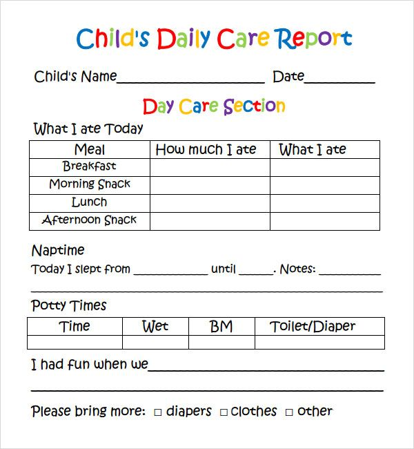 Daily Report Template  Ps Learning Assessment Reports