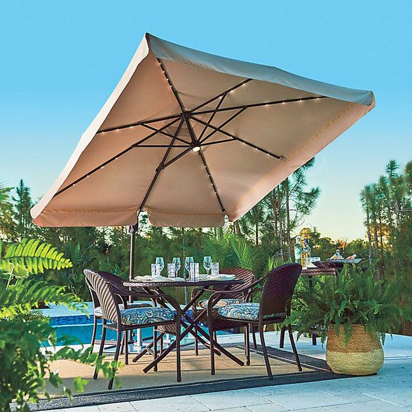 Improvements 8 1/2u0027 Square Offset Solar Lighted Umbrella   Marina Blue  Featuring Polyvore Home Outdoors Patio Umbrellas Cantilever Umbrella Square  Umbrella ...