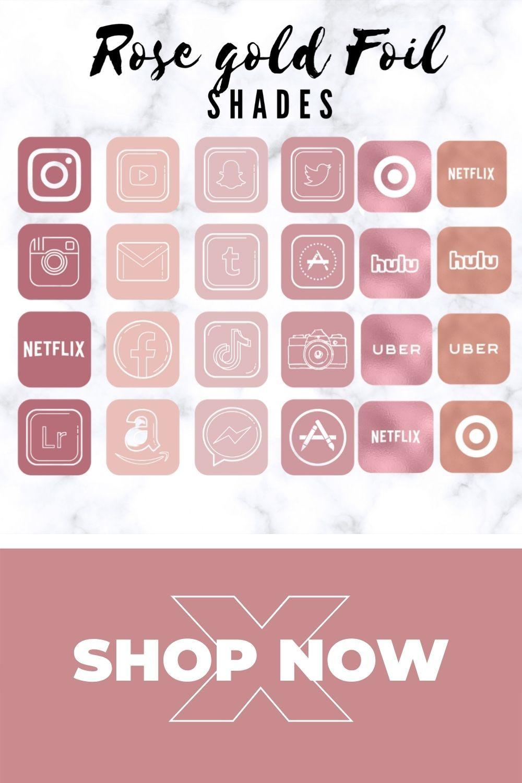 rose gold app icons, ios 14 home screen ideas