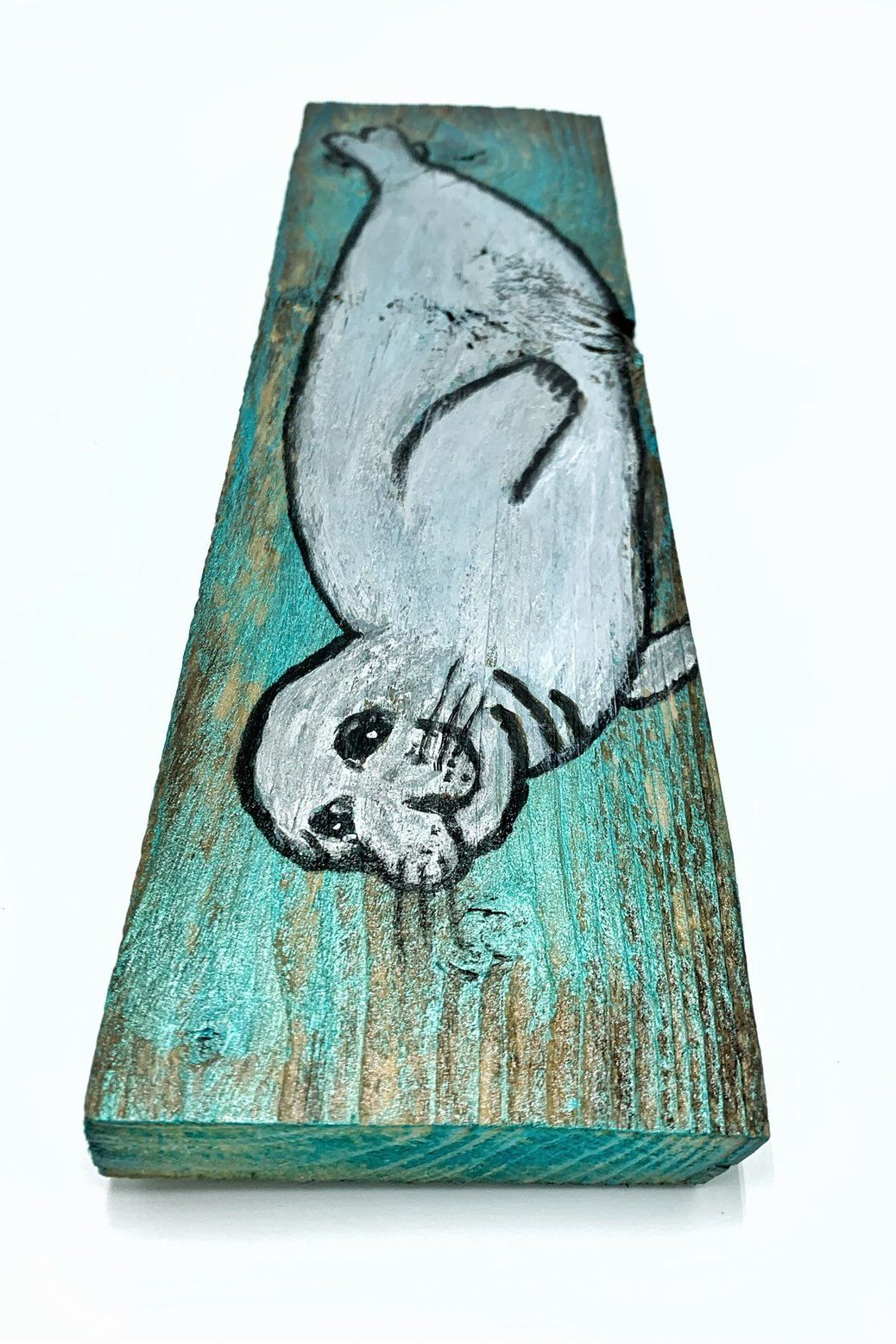 Hawaiian Monk Seal Painting on Reclaimed Wood Painting