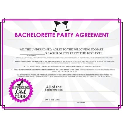 This Bachelorette Party Agreement Is An Absolute Staple For A