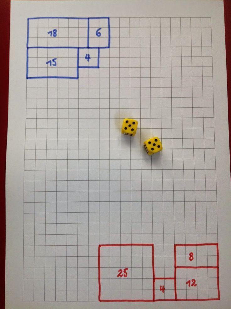 Gooi met twee dobbelstenen en teken de bijpassende rechthoek.   Schrijf het antwoord erin.   Plaatje maakt veel duidelijk.   Winnaar ..... ...