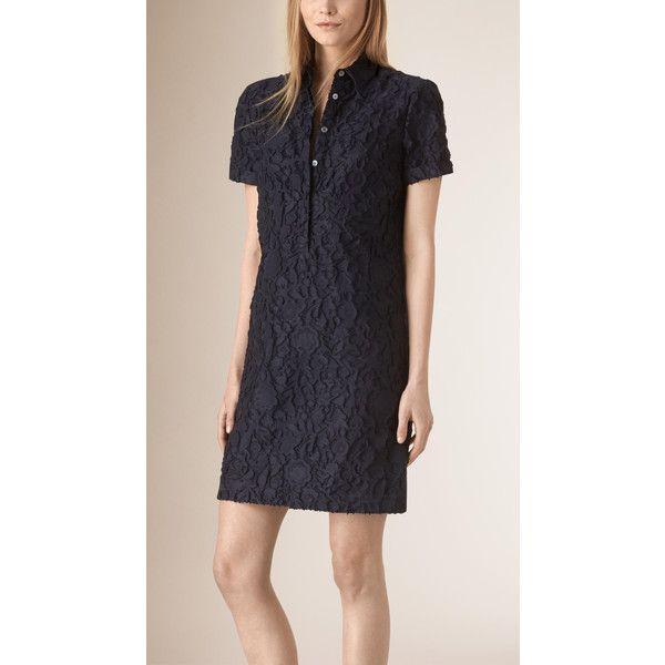 Burberry Short sleeved Fil Coupé Cotton Silk Shirt Dress
