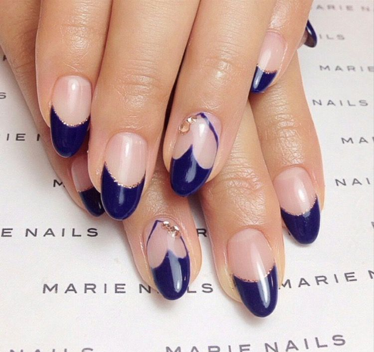 Marie Nails Blue Heart Negative E Calgel Nail Art Studded Glitter Designs