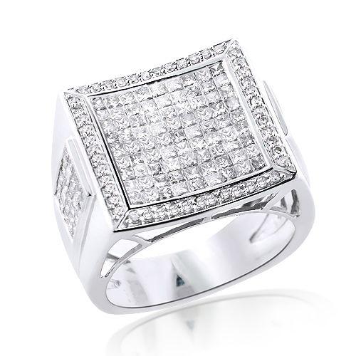 Square 14K Gold Mens Princess Cut Diamond Ring 2 65ct