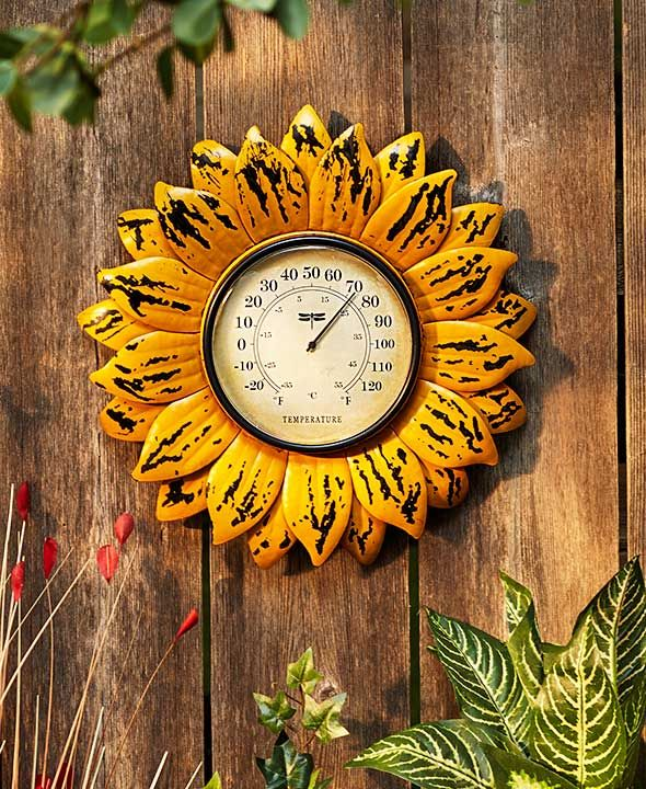"CERAMIC TERMOMETER SUN FLOWER 4 1//4/"" X7 1//4/"" TALL FREE SHIPPING"