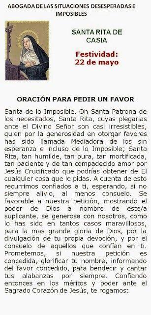 Santa Rita De Casia Por Las Causas Imposibles Oraciones