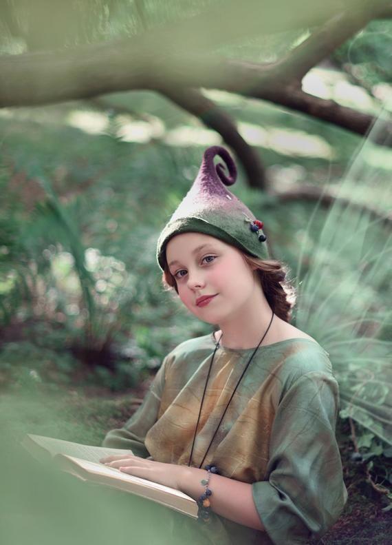 Photo of Cappello da elfo magico per il servizio fotografico della foresta, cappello gnomo verde e viola con top ricci, MADE TO ORDER di qualsiasi dimensione e colore