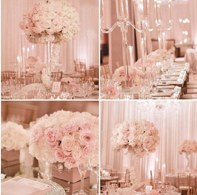 Pink Wedding Decoration Ideas: Lush Flowers, Hints Of Glass, Crystals & Soft Uplighting