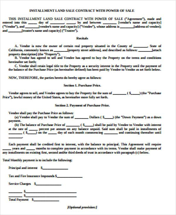 Land Contract Templates   Printable Word  Pdf Formats