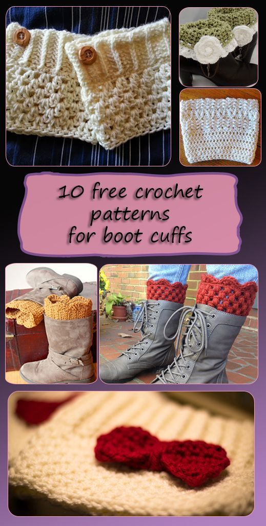 Boot Cuffs - Free crochet patterns | Sandalias, Zapatillas y Bebe
