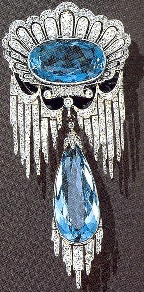 Broche de aguamarinas y diamantes 1902