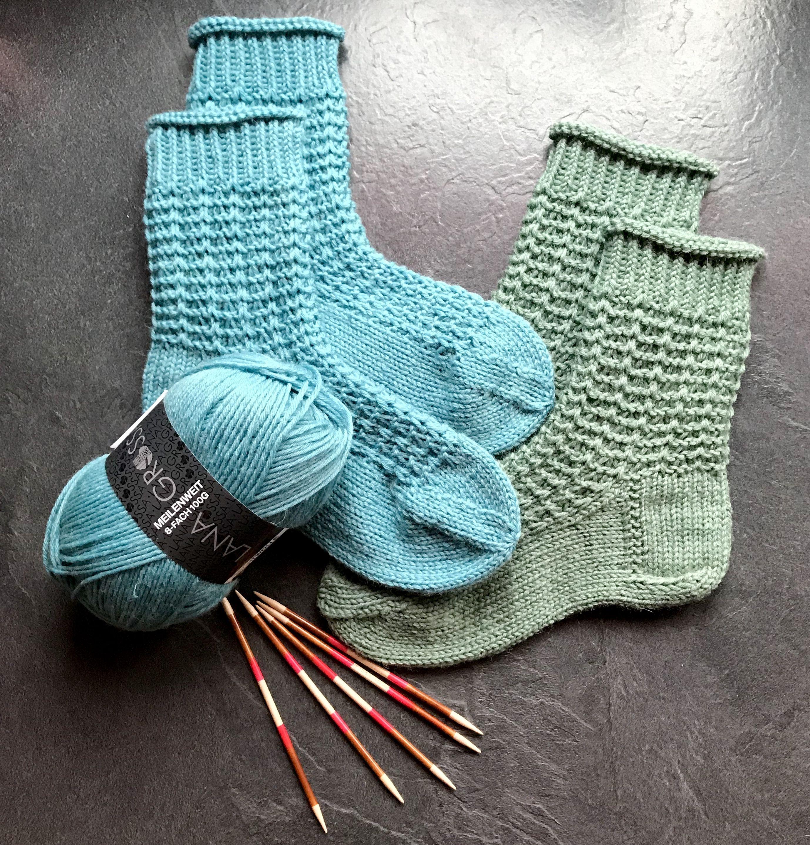 schnell gestrickt aus Meilenweit 6 und 8 fach. | Socken