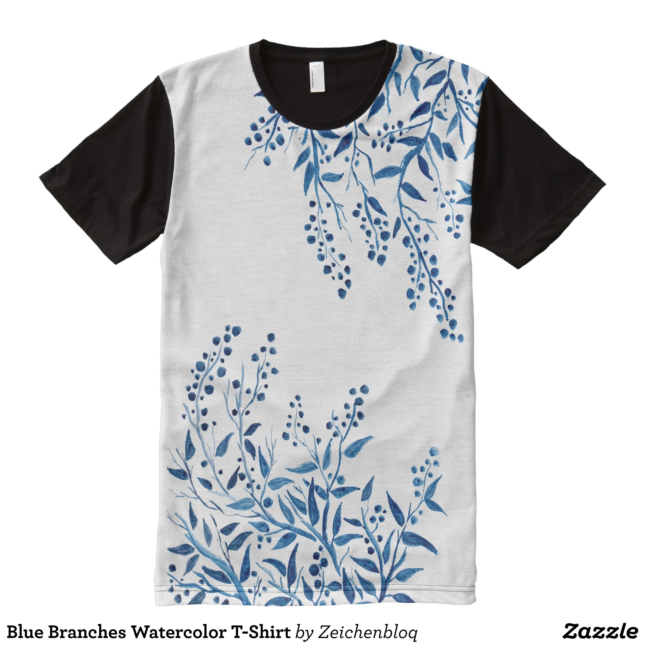 Blue Branches Watercolor T Shirt Heavyweight Pr Shirt Designs