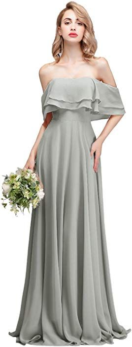 9a6598f2fb64 CLOTHKNOW Strapless Chiffon Bridesmaid Dresses Long Dusty Rose with Shoulder  Ruffles for Women Girls to Wedding Party Gowns at Amazon Women's Clothing  store ...
