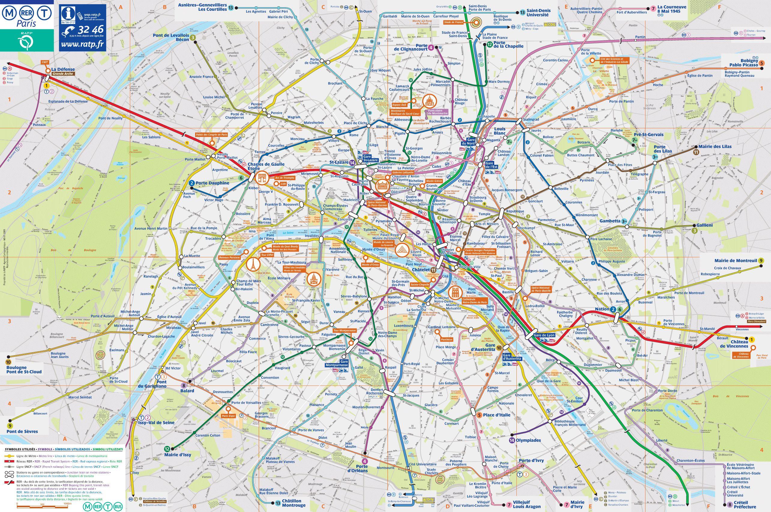 Paris Metro Maps For Tourists Map Of Paris City Paris City - Large map of paris france