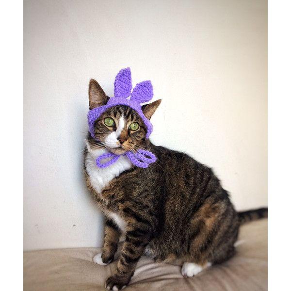 Easter Bunny Hat for Cat Crochet Purple Violet Costume Hat for Cat ...