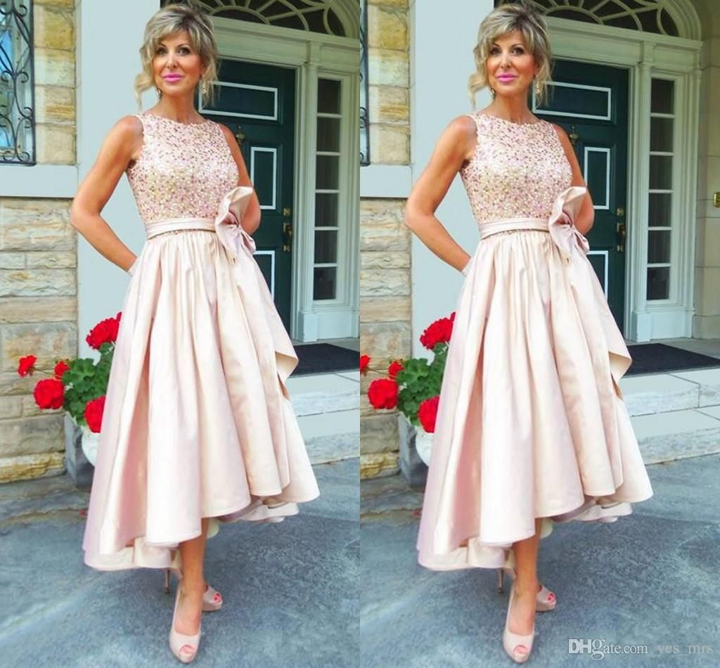 e53787ca1b2 2017 Vintage Mother of the Bride Dresses Jewel Neck Crystal Beaded High Low Length  Pink Taffeta Plus Size Wedding Guest Dress Mother Dress Mother of the ...