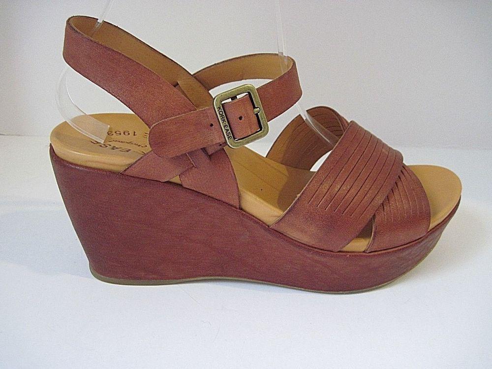 3dd4af8207348c Kork-Ease Adelphi Etiope Brown Leather Ankle Strap Platform Wedge Sandals  Size 9  KorkEase  Strappy  Casual