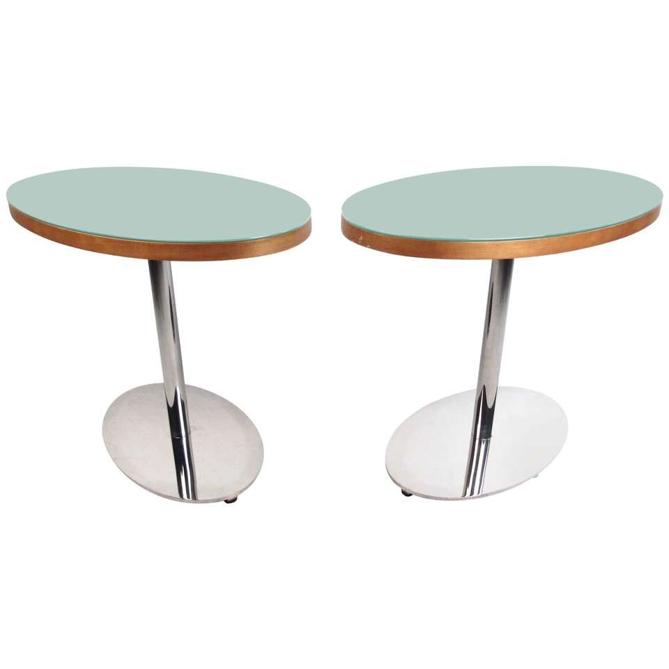 Pair Of Contemporary Modern Chrome And Glass Side Tables 1 Glass Side Tables Modern Glass Table