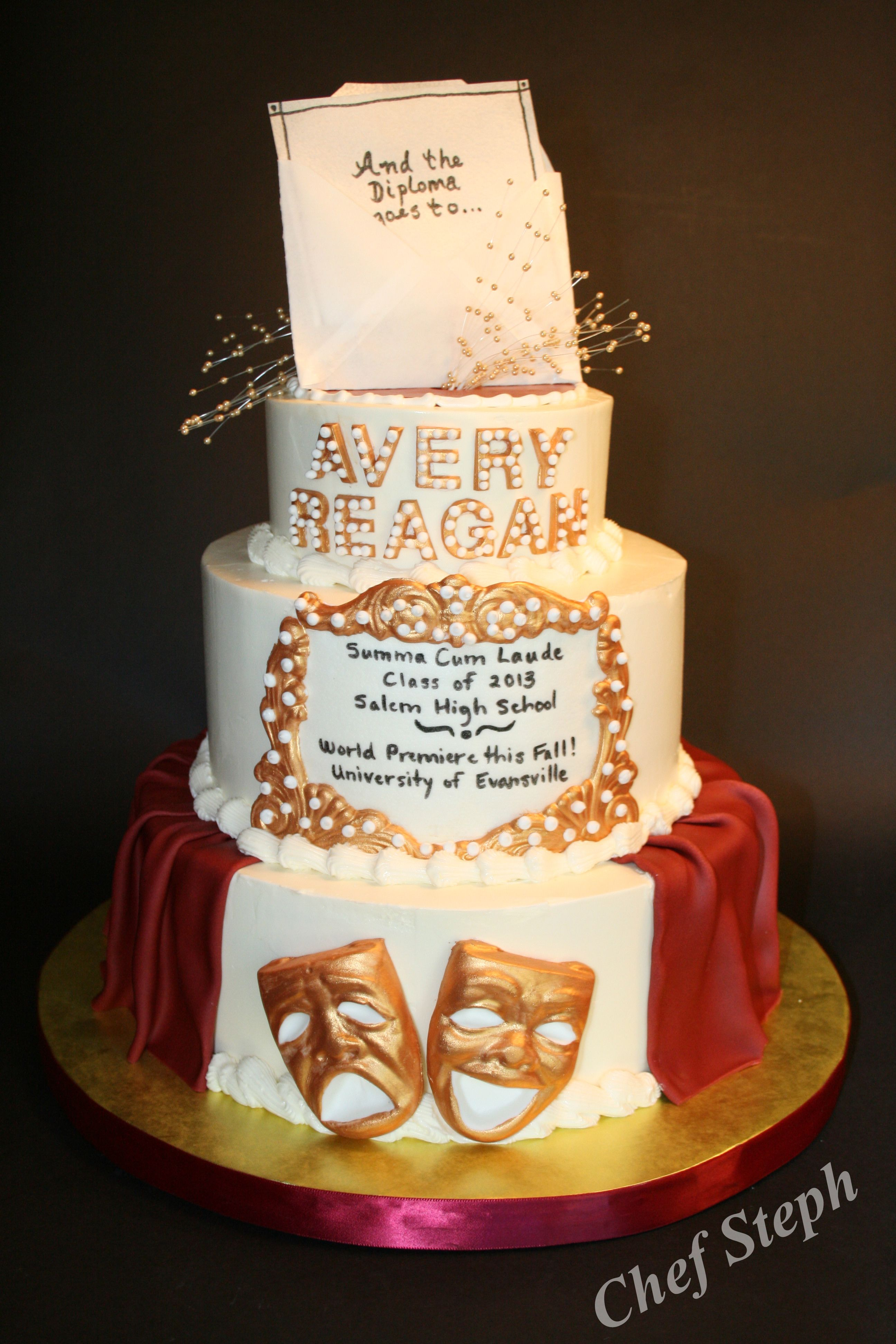 Graduation cake for theater major graduation party high