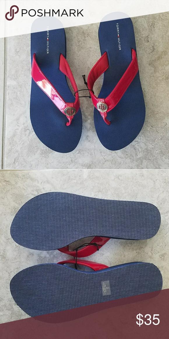 Tommy Hilfiger Flip Flops Nwot Th Blue Red Sandals Flip Flops Tommy Hilfiger Shoes Sandals Tommy Hilfiger Red Sandals Flip Flops
