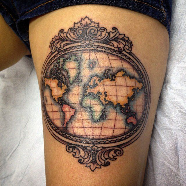 Vintage world map map tattoos tattoo and tatoos vintage world map gumiabroncs Choice Image