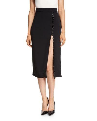 0b8825ae0 CUSHNIE ET OCHS Beaded-Trim High-Slit Pencil Skirt, Black. #cushnieetochs  #cloth #