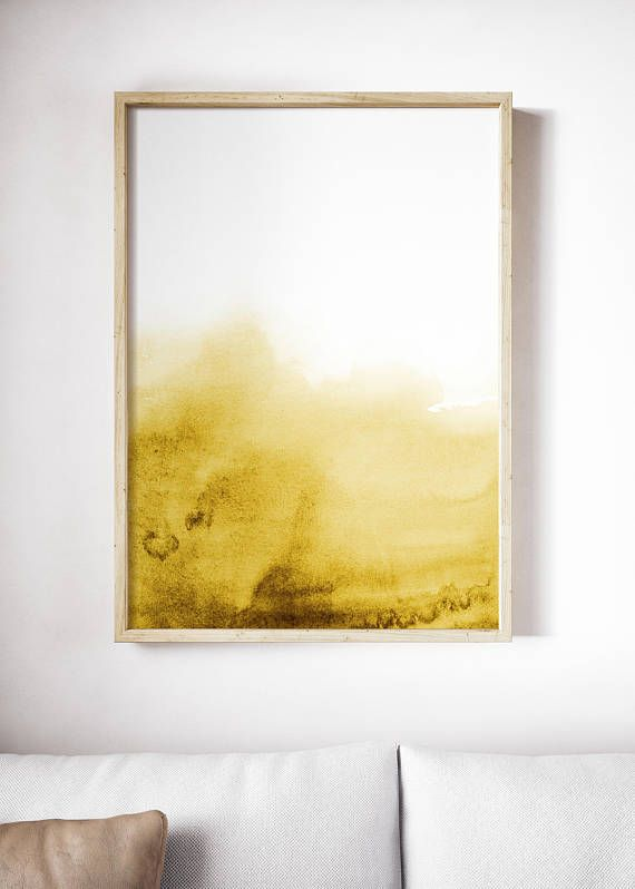 Large Watercolor Print | Golden Yellow Wave | Gold Print | Gold ...