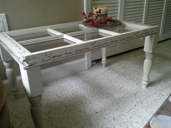 coffee table, french, shabby chic, bohemian, french script stencil