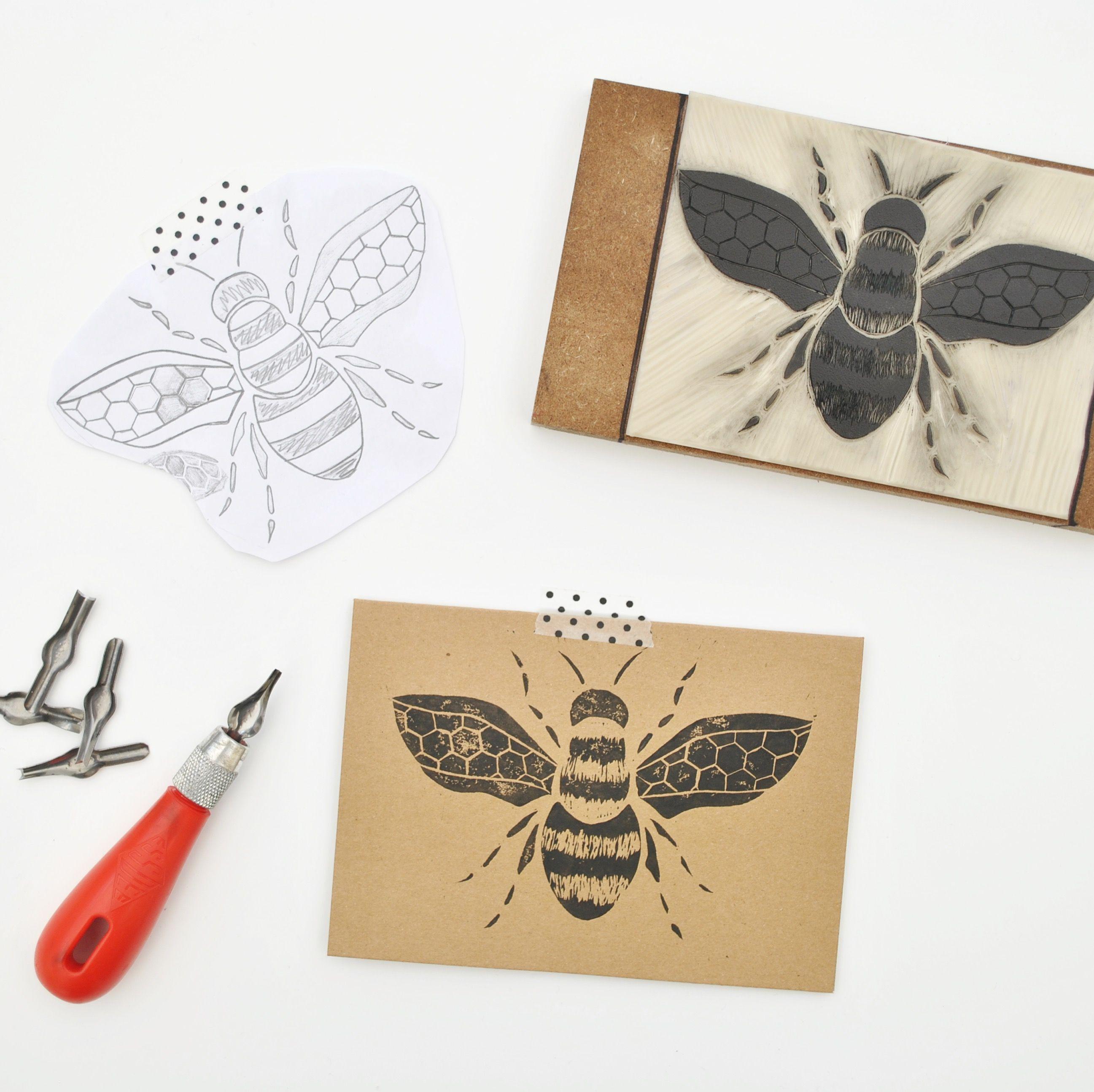 Bumble Bee Print Greetings Cardkraft Card Printsgreeting Cards