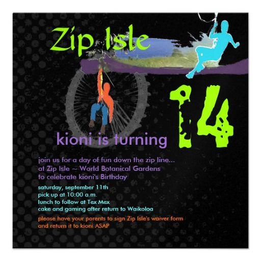 Zip line birthday partydiy fontsbackground personalized zip line birthday partydiy fontsbackground personalized invitations stopboris Gallery