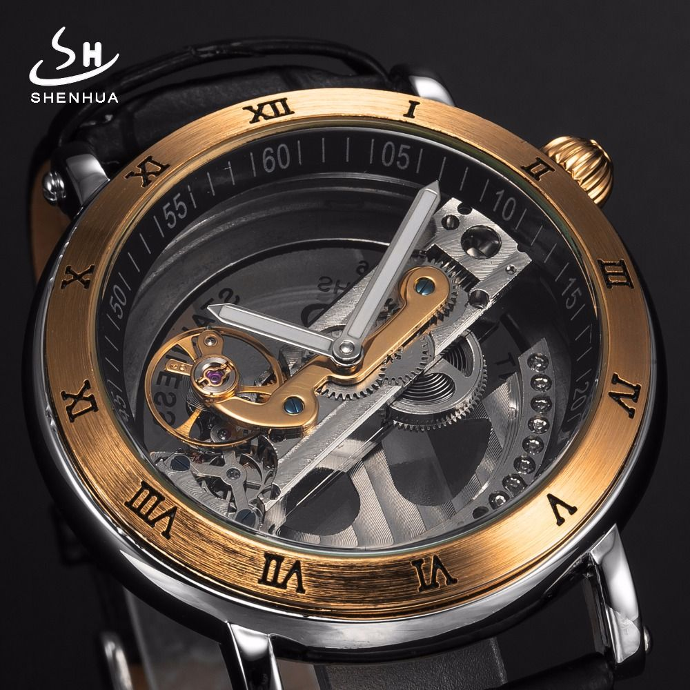 ae95e9338ae Mens Automatic Mechanical Watches Top Brand Luxury Watch Men Skeleton  Transparent Automatic Self Wind Black Leather Wrist Watch.