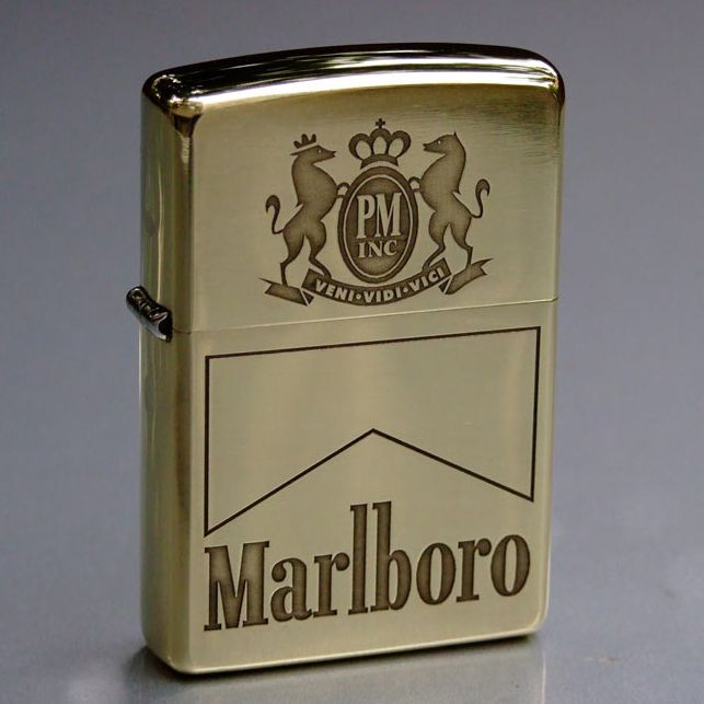 Etching Brass Marlboro Logo Zippo Lighter Zippo Lighter Rare Zippo Lighter Custom Zippo