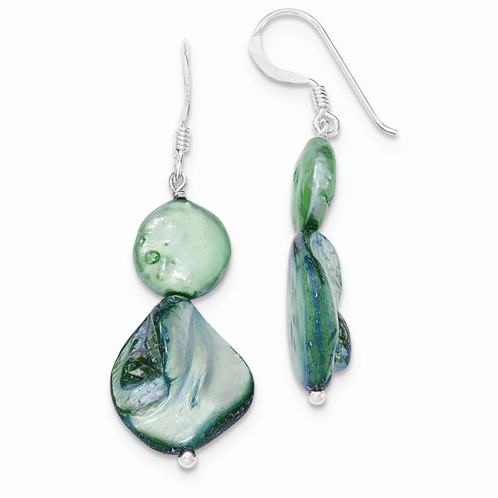 Sterling Silver Green Mother of Pearl & FW Cultured Pearl Earrings