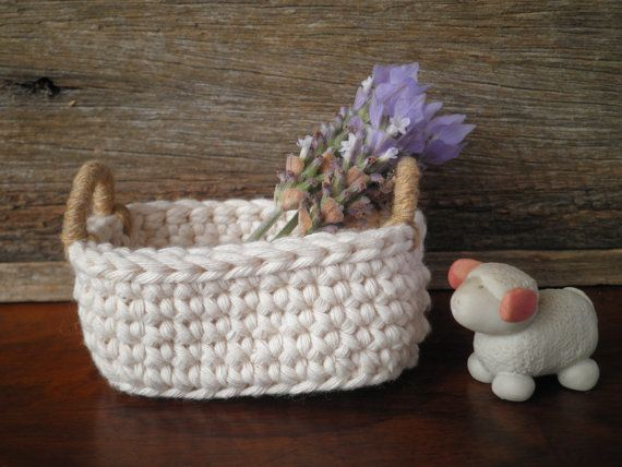 Little Oval Crochet Basket With Handles Cottage Decor Natural