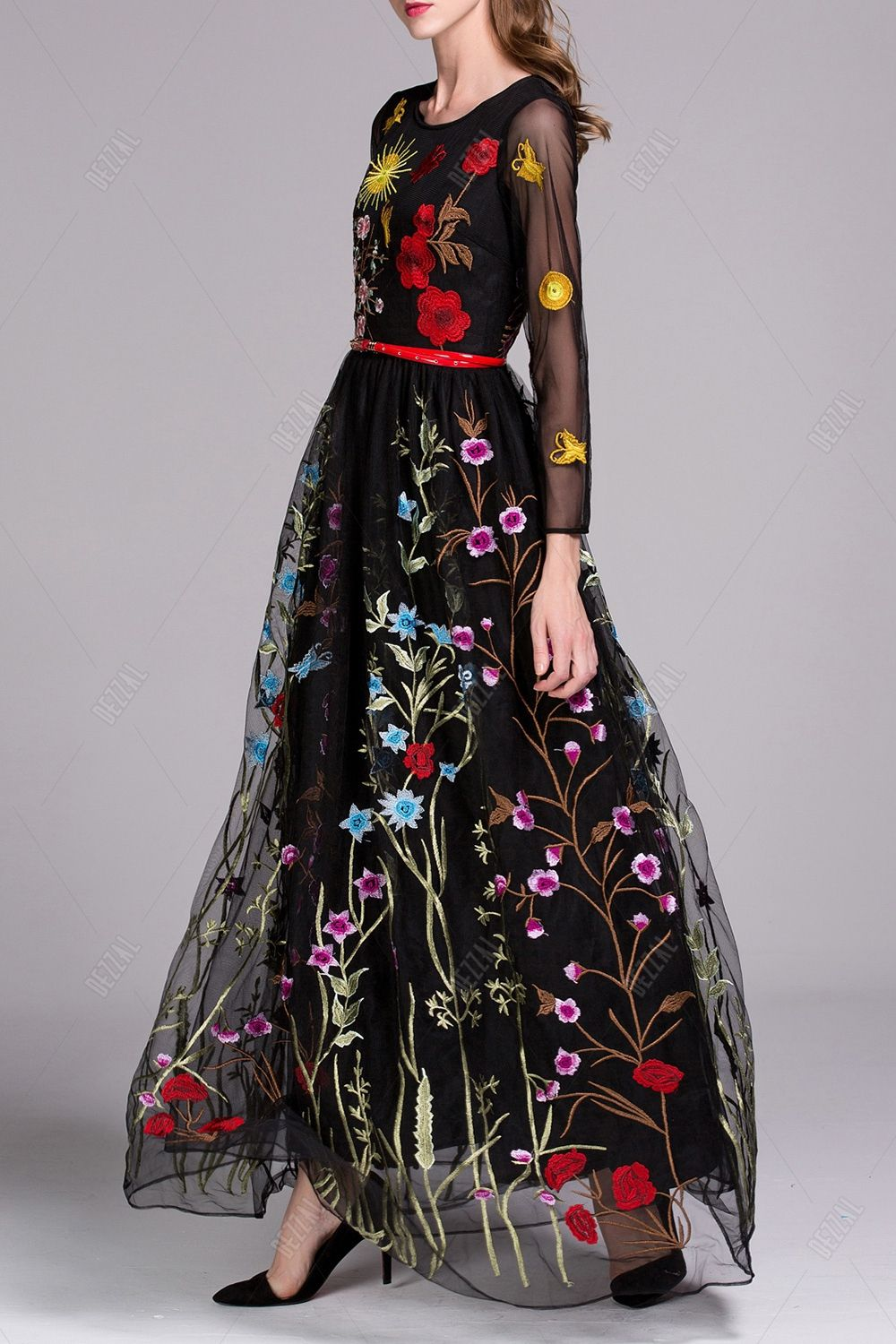 Embroidered Voile Evening Dress